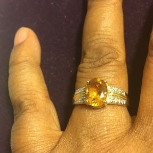 Ring 1.76 Ct Citrine/Diamonds/925 Sterling Silver